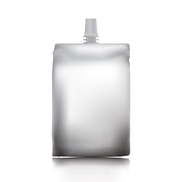 Empty plastic envelope with a lid for food or drink on a white background.