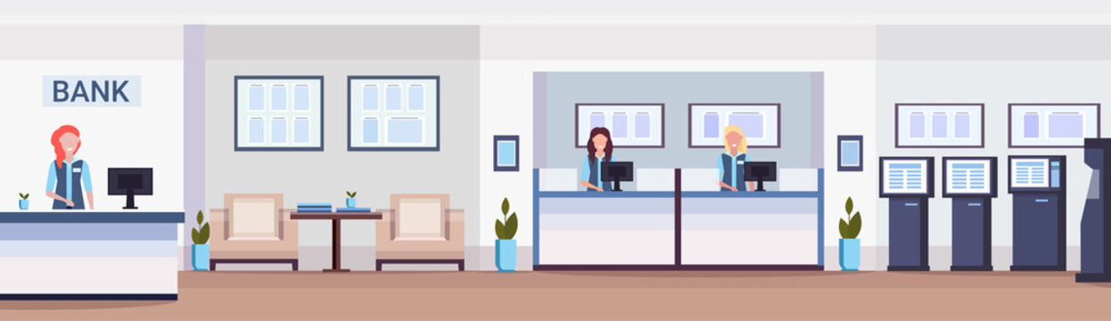cashier women at cash desk financial consulting center with waiting room reception and atm modern bank office interior horizontal banner flat
