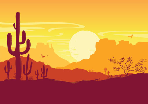 Wild West American desert. Vector Texas prairie landscape with sun and cacti