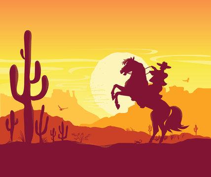 Wild West American desert. Vector Texas prairie landscape with cowboy on horse