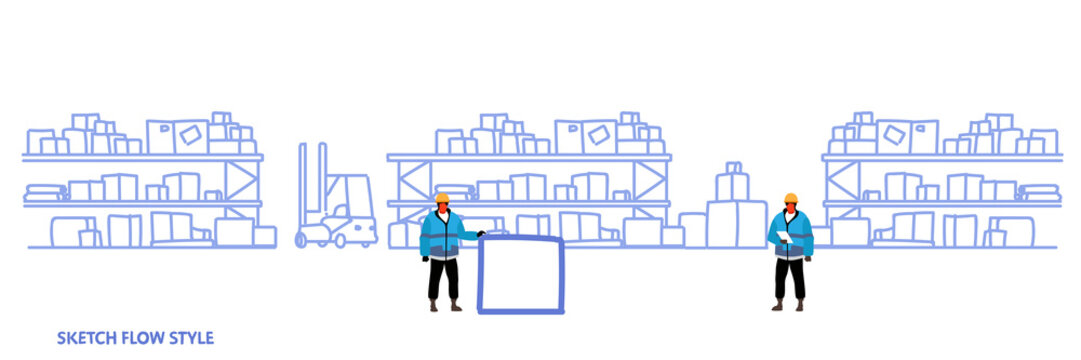 workers in uniform storage logistic delivery service concept shelves with cardboard boxes warehouse interior sketch flow style horizontal banner