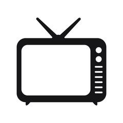 Retro TV icon in flat style, black and white retro TV icon, Vector illustration of Retro TV icon for you design.
