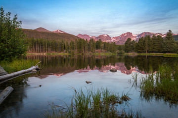 reflection of Mountains in Lake Waters