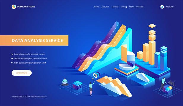 Data analysis service isometric abstract vector illustration.