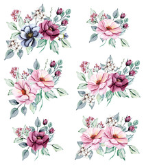 Floral set, watercolor  flowers bouquets . Pink peonies and burgundy roses hand drawing. Isolated on white. Perfectly for web design, holiday decoration and print on greeting card, wedding invitation.
