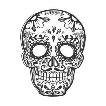 Mexican mask day of dead vintage sketch engraving vector illustration. Scratch board style imitation. Black and white hand drawn image.