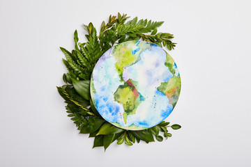 composition of fresh green fern leaves and planet picture isolated on grey background, earth day concept