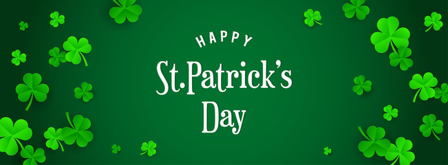 Happy St. Patrick's Day Banner vector illustration. Shamrock frame with white typography.