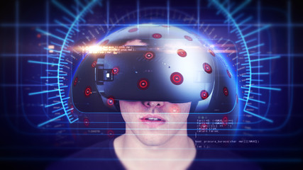 Young man wearing VR headset and experiencing virtual reality. Technology related digital earth network concept. Seamless Loop. 3D Rendering.