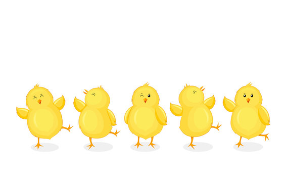 Little chicks cartoon set. Funny yellow chickens in different poses. Vector illustration isolated on white background.