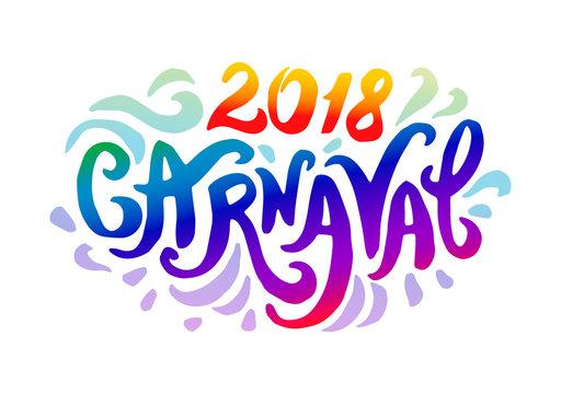 Vector illustration concept of Carnaval colorful logo lettering  illustration on white background