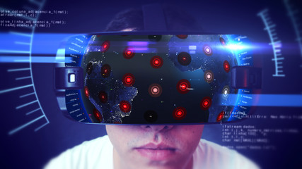 Close-up shot of a young man wearing VR Headset experiencing 3D virtual reality. Technology related digital earth network concept. 3D Rendering.