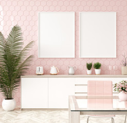 Mock up poster frame in pastel pink kitchen interior, 3d render
