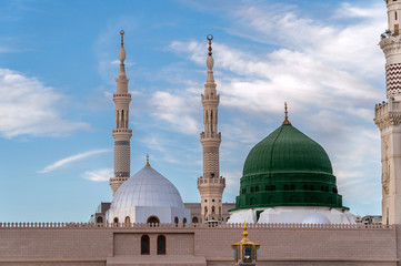 Muslims gathered for worship Nabawi Mosque, Medina, Saudi Arabia Wall mural