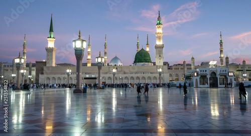 Muslims gathered for worship Nabawi Mosque, Medina, Saudi