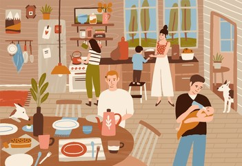 Happy family cooking in kitchen and serving dining table. Smiling adults and children preparing meals for dinner together. Cute home scene. Colorful vector illustration in flat cartoon style.