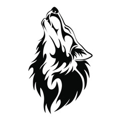 Wolf head howl design tribal tattoo