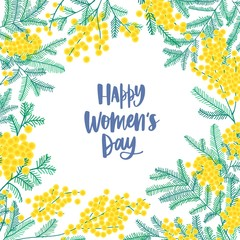 Women's Day square greeting card template decorated by beautiful blooming mimosa or silver wattle flowers and leaves. Colorful floral vector illustration in cute flat style for 8 march celebration.