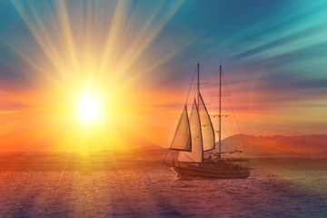 Printed kitchen splashbacks Ship Old ancient ship on peaceful ocean at sunset. Calm waves reflection, sun setting. Copy space