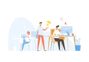 Programmers or coders working together. Front-end and back-end software development and testing, programming or program coding. Conversation between colleagues at work. Flat vector illustration.