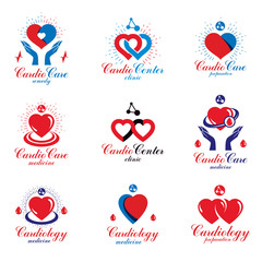 Heart shapes composed using pulsating electrocardiograms and futuristic mesh connections. Cardio center graphic vector logotypes collection for use in pharmacy.