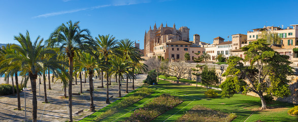Palma de Mallorca - The cathedral La Seu promenade and park from city walls. Wall mural