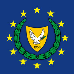 Cyprus coat of arms on the European Union flag, vector illustration