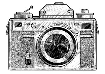 Retro film photo camera illustration, drawing, engraving, ink, line art, vector