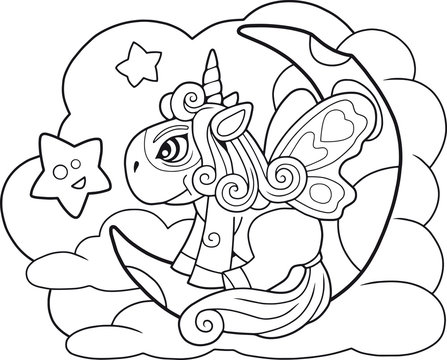 little cartoon cute pony unicorn sitting on the moon coloring book funny illustration