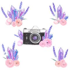 Watercolor camera flower set 21