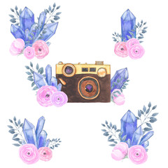 Watercolor camera flower set 28