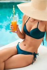 Young slim woman at resort