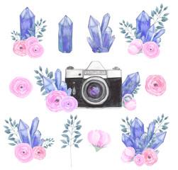 Watercolor camera flower set 33