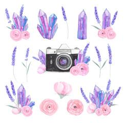 Watercolor camera flower set 39