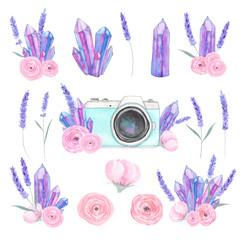 Watercolor camera flower set 40