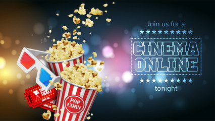 Advertising for the film industry.  Popcorn, glasses and tickets. 3D vector. High detailed realistic illustration