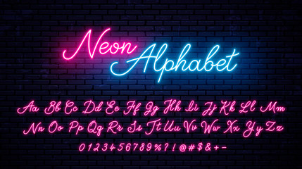 Vector neon alphabet on wall background