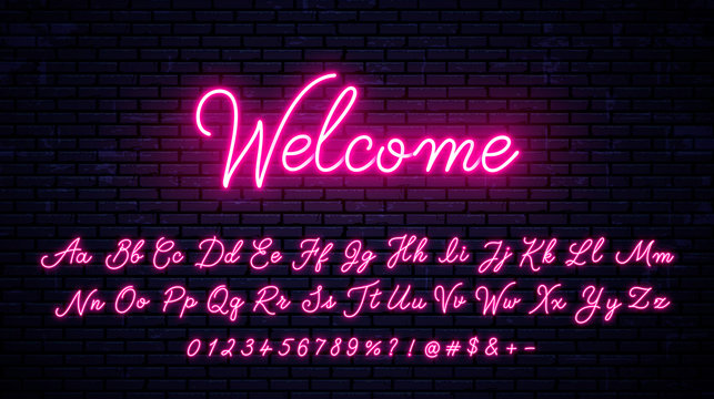 Vector neon alphabet on wall background