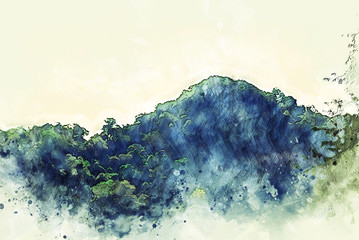 Abstract mountain peak in the forest watercolor illustration painting background.