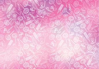 Vector lollipop caramel candy  pattern, sweet pink background.