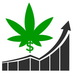Cannabis stock market. Concept sign for the raising profits on the marijuana market in America and Canada