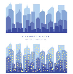 Two illustrations of the silhouette of the city and city night