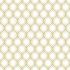 Seamless geometric vector pattern in oriental style in gold