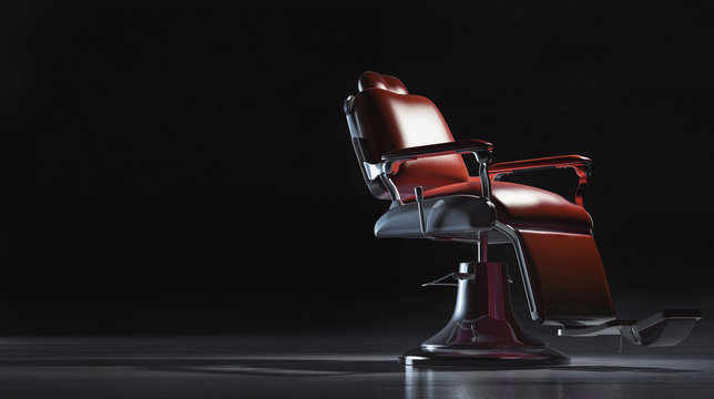 Barbershop chair in interior background concept.