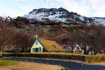 Hofskirkja turf church in town of Hof in South Iceland