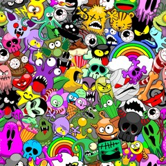 Poster Draw Monsters Doodles Characters Saga Seamless Repeat Pattern Vector Design