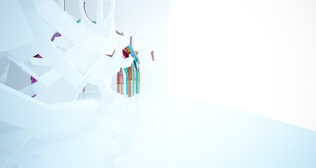Abstract white and colored gradient glasses gothic interior. 3D illustration and rendering.
