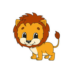 Orange lion. Cute flat vector illustration in childish cartoon style. Funny character. Isolated on white background.