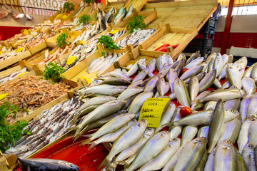 Bostanli / Izmir / Turkey, February 20, 2019, Bostanli fish market bazaar (Bospa)