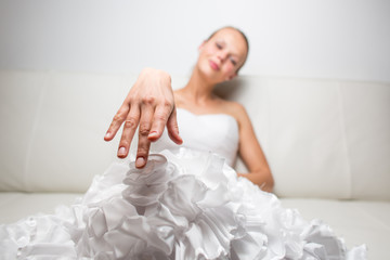 Beautiful young bride wants you to put a ring on her finger and marry her